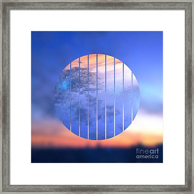 Sunset With Starry Starry Night Sky Framed Print