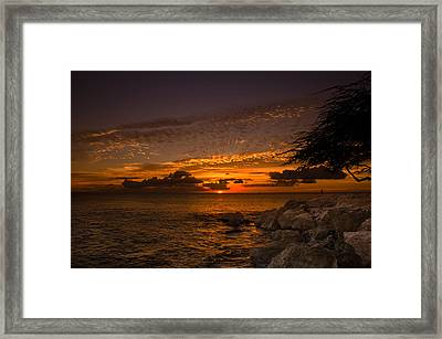Sunset With The Fisherman Framed Print by Tin Lung Chao