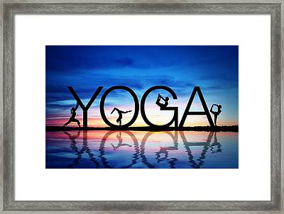 Sunset Yoga Framed Print by Aged Pixel