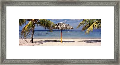 Sunshade On The Beach, La Boca, Cuba Framed Print