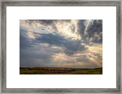 Sunshine And Hay Bales Framed Print by Scott Bean