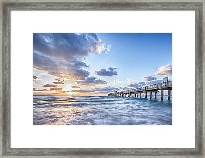 Sunshine At The Pier Framed Print by Jon Glaser