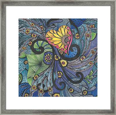 Sunshine In My Heart Tangle Framed Print by Meldra Driscoll