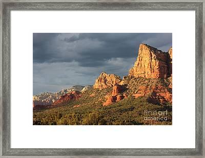 Sunshine On Sedona Rocks Framed Print