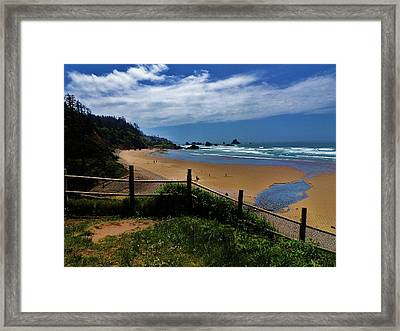 Sunshine On The Beach Framed Print by Helen Carson