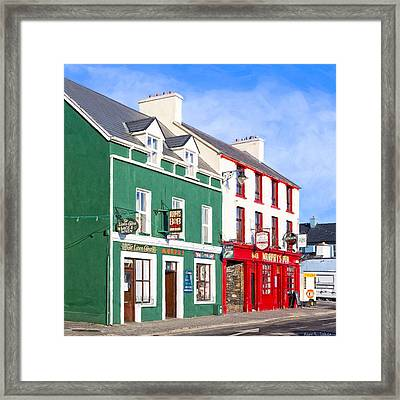 Sunshine On The Pubs In Dingle Ireland Framed Print