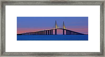Sunshine Skyway At Dusk II Framed Print by Daniel Woodrum