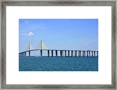 Sunshine Skyway Bridge II Tampa Bay Florida Usa Framed Print by Sally Rockefeller