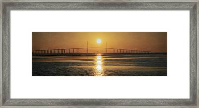 Framed Print featuring the photograph Sunshine Skyway Bridge Sunrise by Steven Sparks