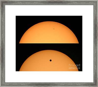 Sunspots And Venus Transit Comparison Framed Print