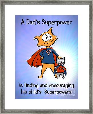 Super Dad And Son Framed Print by Pet Serrano