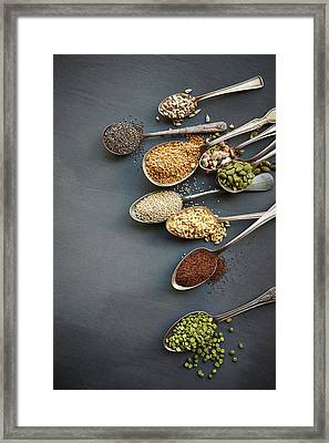 Super Food Grains On Spoons Framed Print by Lew Robertson