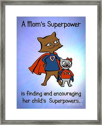 Framed Print featuring the drawing Super Mom And Daughter by Pet Serrano