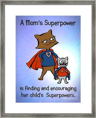 Super Mom And Son Framed Print by Pet Serrano