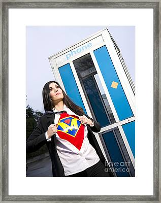 Super Mom Superhero Leaves Phone Booth Ready For Crimefighting Framed Print by Christopher Boswell