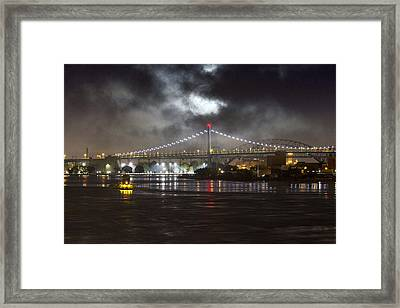 Super Moon And Triboro Bridge Framed Print