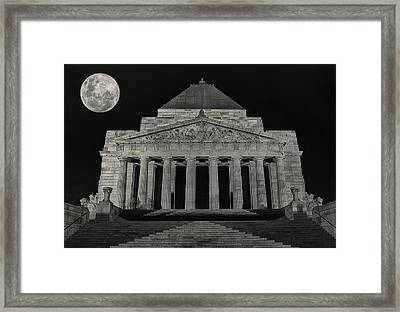 Super Moon Behind Shrine Of Remembrance  Framed Print