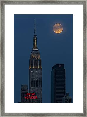 Super Moon By The Empire State Building Nyc Framed Print by Susan Candelario