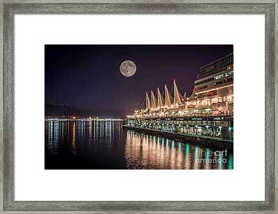 Super Moon Over Canada Place Vancouver - By Sabine Edrissi Framed Print