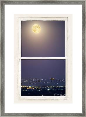 Super Moon Over City Lights View Through White Rustic Window Framed Print