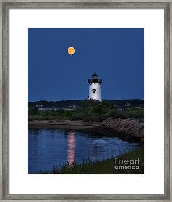 Super Moon Over Edgartown Lighthouse Framed Print