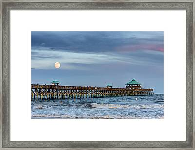 Super Moon Over Folly Framed Print