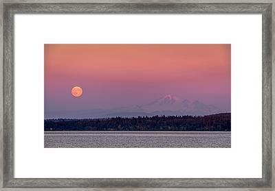 Super Moon Over Mount Baker Framed Print