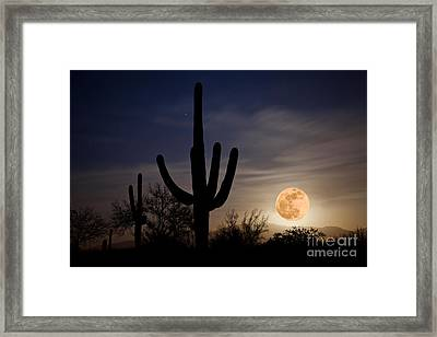 Super Moon Over Sonoran Desert Framed Print by Richard and Ellen Thane