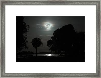 Super Moon Over Wimbee Creek Framed Print