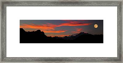 Super Moon Rises Over The Badlands Framed Print by Panoramic Images