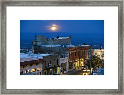 Super Moonrise Over Jerome Arizona Framed Print