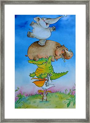 Super Mouse Pen & Ink And Wc On Paper Framed Print by Maylee Christie