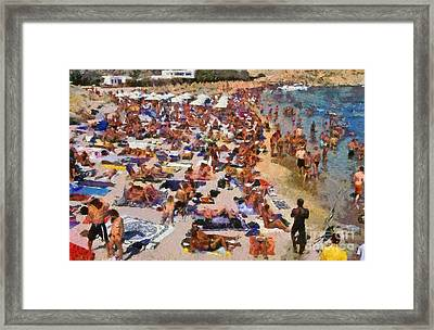 Super Paradise Beach In Mykonos Island Framed Print by George Atsametakis