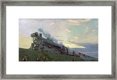 Super Power Steam Engine, 1935 Framed Print by Arkadij Aleksandrovic Rylov