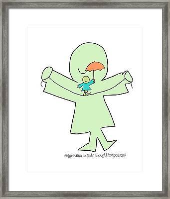Super-self Umbrella Balance Framed Print by Lorraine Mullett