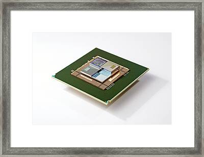 Supercomputer Microchip Stack Framed Print by Ibm Research