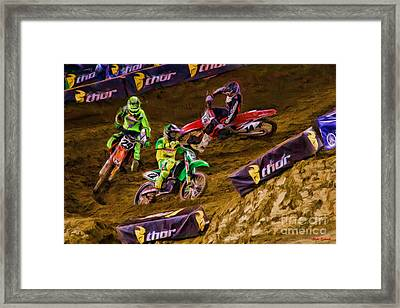 Supercross Chad Reed Leads Andrew Short Cole Seely Framed Print by Blake Richards