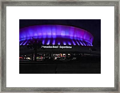 Superdome Night Framed Print by Steve Harrington