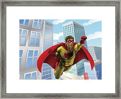 Superhero Flying Through City Framed Print by Christos Georghiou