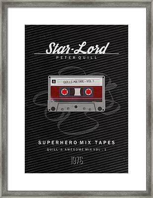 Superhero Mix Tapes - Star-lord Framed Print
