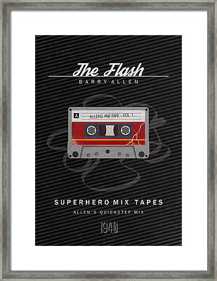 Superhero Mix Tapes - The Flash Framed Print by Alyn Spiller