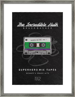 Superhero Mix Tapes - The Incredible Hulk Framed Print by Alyn Spiller