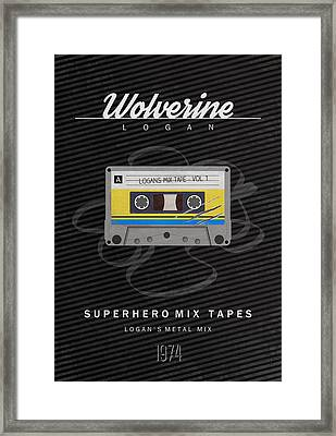 Superhero Mix Tapes - Wolverine Framed Print