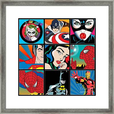Superheroes Framed Print by Mark Ashkenazi