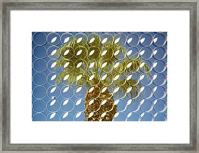 Superimposed Image Over Palm Trees Framed Print