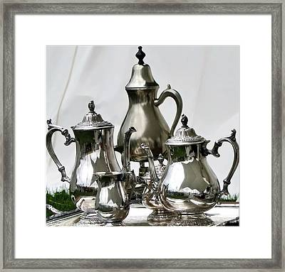 Superior Officers Silverware And Tea Service From  The Stoney Creek War Of  1812 Framed Print by Danielle  Parent