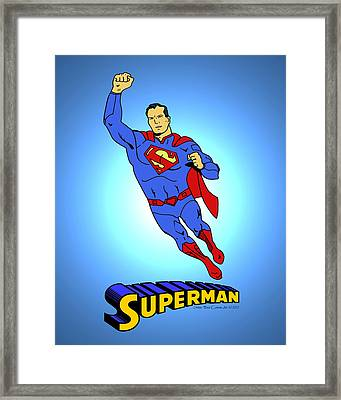 New 52 Superman Classic Framed Print by Mista Perez Cartoon Art