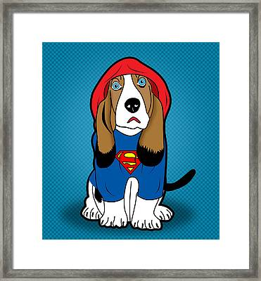 Superman Dog  Framed Print by Mark Ashkenazi