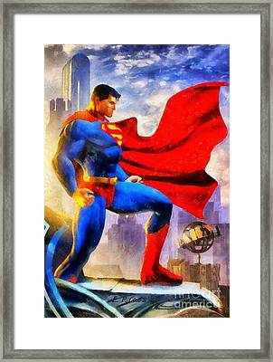 Superman Framed Print by Elizabeth Coats