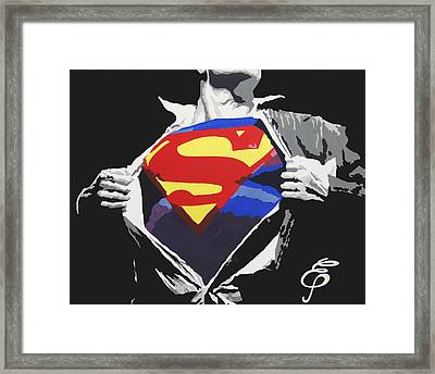 Superman Framed Print by Erik Pinto